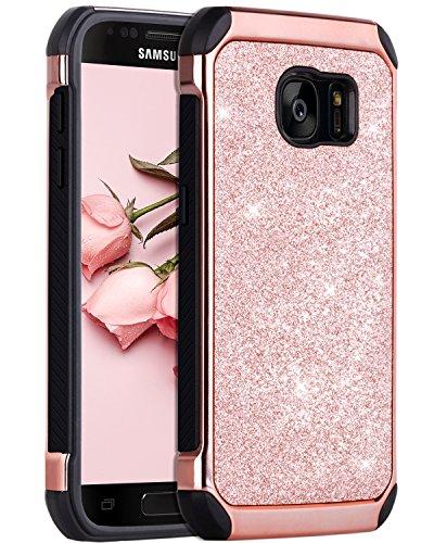 BENTOBEN Coque Samsung S7,Coque Galaxy S7, Etui Samsung S7 Housse de Protection Antichoc Pailletté Brillante Durable Résistante 2 en 1 Hybride PC Robuste + TPU Souple pour Samsung Galaxy S7, Or Rose