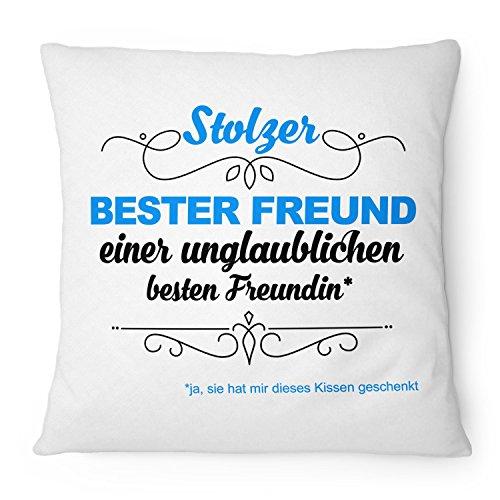 Fashionalarm Kissen Stolzer bester Freund - unglaubliche beste Freundin - 40x40 cm mit Füllung | Geburtstag Geschenk Idee Freunde Freundschaft, Farbe:weiß