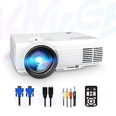 ViviMage C3 2200 Lumens Mini LED Projector 1080P HD Supported 170  Display Outdoor Movie Home Theater Video Projector, Support HDMI, Amazon Fire TV Stick, PS4, USB