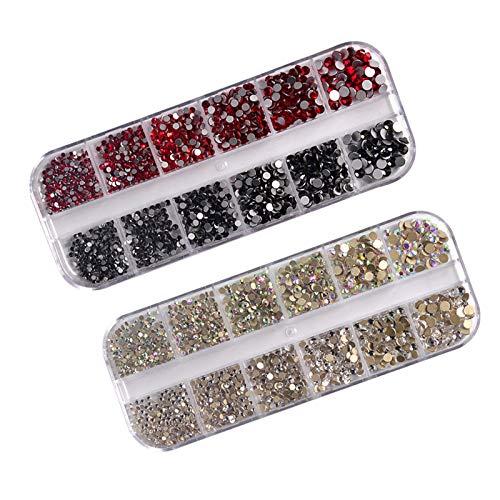 litulituhallo 2 cajas de gemas de uñas planas de cristal de diamantes...