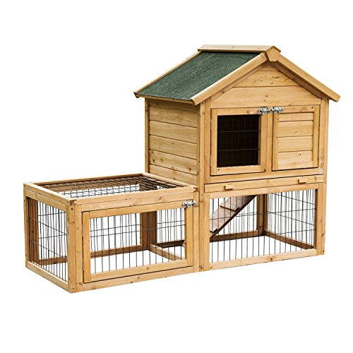 """PawHut 53"""" Backyard Wooden Chicken Coop Rabbit Playpen Hutch Pet House Poultry Cage With Outdoor Run"""