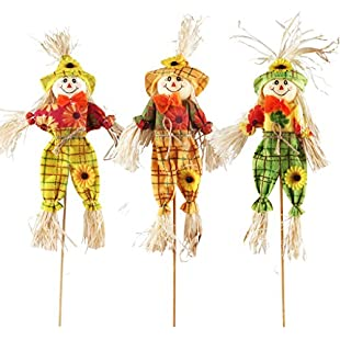Small Fall Harvest Scarecrow Decor, IFOYO 3 Pack 15.75 Inch Happy Halloween Decorations Scarecrow Thanksgiving Decoration for Garden, Home, Yard, Porch