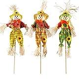 AIPINQI Halloween Scarecrow Decorations, 3 Pack Small Scarecrow Decoration Autumn Thanksgiving Decoration Props Ornaments Pendant for Halloween Party School Kindergarten Home Bar Garden