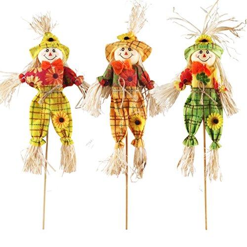 Ifoyo Spaventapasseri, decorazione autunnale, di Halloween, decorazione per il giardino, la terrazza o il portico Small 3 Pack