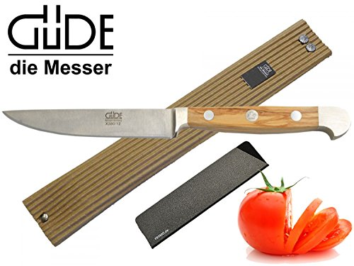 Güde Alpha Olive Messer Kochmesser Santoku Brotmesser Schälmesser Schinkenmesser Chai Dao ohne/mit Gravur + Prymo (Porterhouse glatt 12cm, 1) Messer OHNE Gravur)