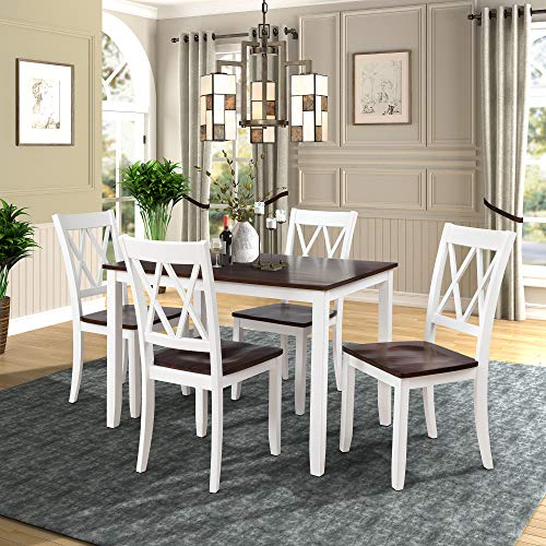 Merax Dining Table Set Kitchen Dining Table Set for 4, Wood Table and Chairs Set (White & Cherry)