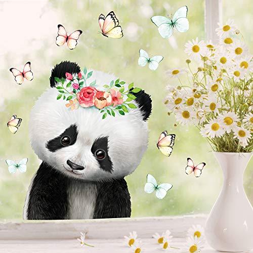 Wandtattoo Loft Fensterbild Frühling Ostern wiederverwendbar Fensteraufkleber Kinderzimmer / 3. Panda mit Blume (1138) / 1. DIN A4 Bogen