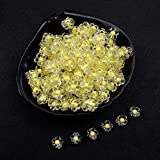 AFANGMQ 100 unids/Lote 12 mm Perlas espaciadas de acrílico Transparente Forma de Flor Granos para el Collar de Bricolaje Pendientes Accesorios de joyería (Color : 12mm Yellow, Item Diameter : 100Pcs)