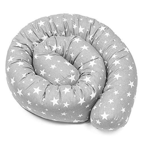 Bettschlange baby Nestchenschlange Bettrolle - 180 cm Bettumrandung Babybettschlange Babybett umrandungen Babynestchen für Kinderbett