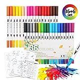 Brosse à double pointe Pen Art marqueur Pointe fine Pointe de brosse, Feutres aquarelle,36...
