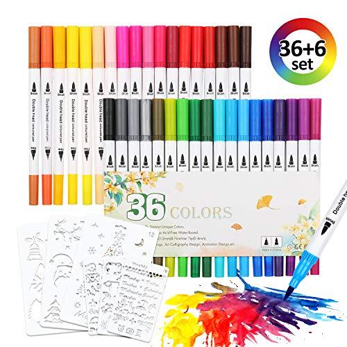 EKKONG Dual Brush Pen Set für Aquarell, Filzstifte für Handlettering, Calligraphie, Bullet Journal, Comics, Manga, Mandala, Stifte mit Fasermaler 2mm und Fineliner 0.4mm (mit 36 Farben+6Schablonen)