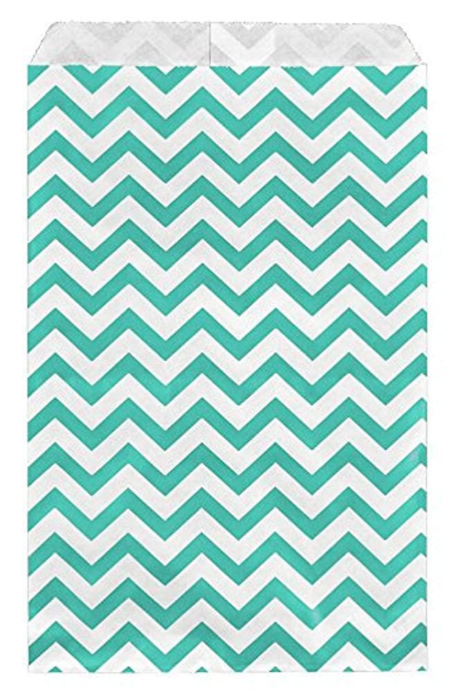 100 Bags Flat Plain Paper or Patterned Bags for Candy, Cookies, Merchandise, pens, Party Favors, Gift Bags (Teal, 8.5
