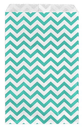 "888 Display USA - 200 pcs Chevron Paper Gift Bags Shopping Sales Tote Bags (Teal Green, 6"" x 9"")"