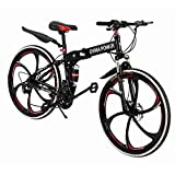 Hua 26 Inch Folding Mountain Bike with 21 Speed | Adults Bicycle Mountain Bike for Women Men | Dual Disc Brakes Full Suspension Non-Slip | US in Stock (Black)