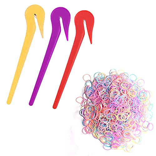 3 Pcs Elastic Hair Bands Remover Cutter, Picks For Cutting Pony Rubber Hair Ties, Pain Free Ponytail Remover Tool, Purple Red Yellow Band Hair Tie Cutter with 800 Pack Thick jelly color Rubber Hair Bands for Women Girl Children