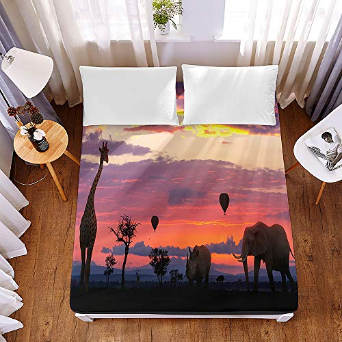 Bedding Fitted Sheets Extra Deep 30cm, Morbuy 3D African Giraffe Printed Bedding Microfiber Fade Resistant Bed Sheets for Single Double King Size,No Pillowcases (140x200x30cm,Sunset Glow)