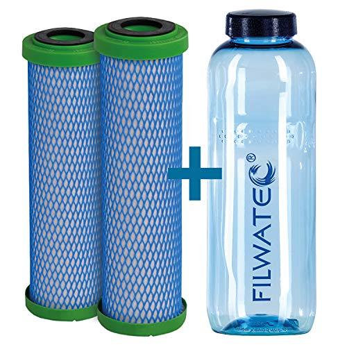 filwatec Carbonit EM Premium D 2 Stück I Filterpatrone Wasserfilter Carbonit SanUno + Vario-HP I TÜV geprüft Aktivkohlefilter I Auftischfilter & Untertischfilter I Trinkflasche