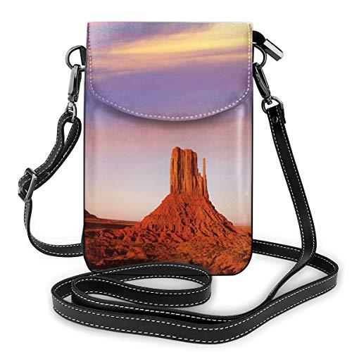 Women Small Cell Phone Purse Crossbody, Monument Valley West Midden and Merrick Butte Sunset Utah Desert
