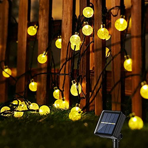 Guirnalda Luces Exterior Solare, BrizLabs 13.8M 60 LED Guirnalda Luces Solar Impermeable 8 Modos Interior y Exterior Cadena de Luces Solar para Jardín Terraza, Patio, Navidad, Fiesta, Blanco Calido