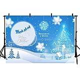 Foto Fondos De Fotografía De Navidad Fondo De La Fotografía De Copo De Nieve Fondo De La Luna De Invierno Azul Noche-10x6 ft