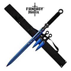 3-piece set with 28-inch ninja sword and two 6-inch throwing knives Stylish blue and black blades Cord-wrapped handles for a firm grip