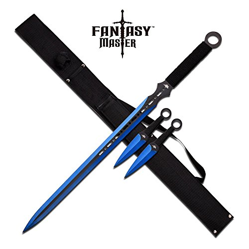FM-644BL-MC Fantasy Master Fm-644BL Fantasy Ninja Sword & Two Throwing Knives