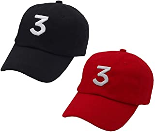 2 Pack Chance The Rapper Hat 3 Cool Rock Hip Hop Classic Casquette with Adjustable Strap Black and Red