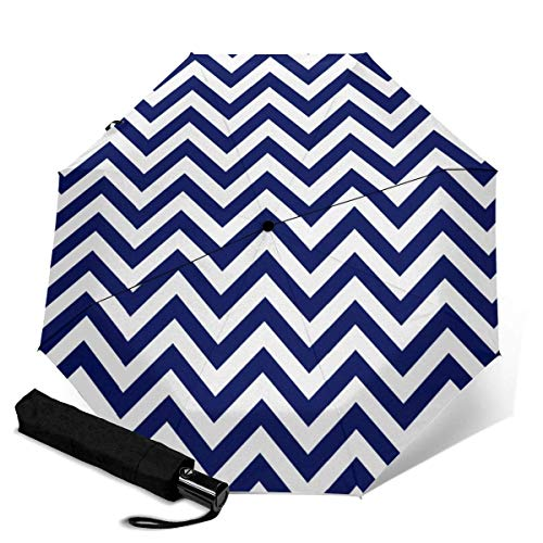 Fast Drying Travel Umbrella, Reinforced Windproof Frame, Auto Open/Close, Slip-Proof Handle for Easy Carry, Navy Blue and White Chevron Pattern