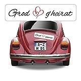 Magnetschild Kennzeichen Hochzeit beschriftet mit Grod g'heirat AZ0555