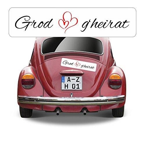 Magnetschild Kennzeichen Hochzeit beschriftet mit Grod g\'heirat AZ0555