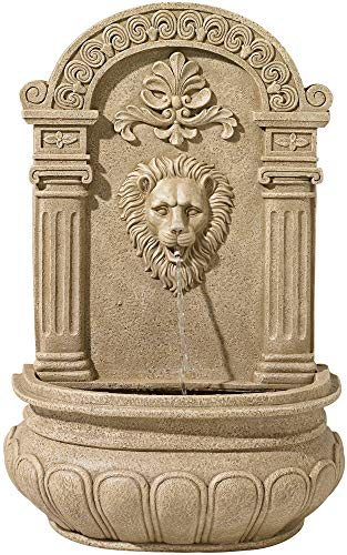 John Timberland Lion Face 31' High Sandstone Finish Wall Fountain