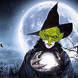 Halloween Green Head Horror Witch Mask Old Woman Wig Mask Cosplay - Disfraz de Halloween Scary Horror Cosplay
