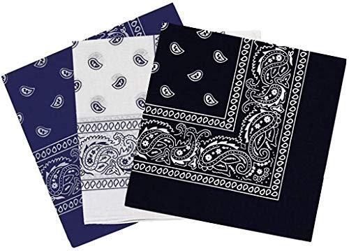 Pack 3 Pañuelos Bandanas Paisley de Algodón 55x55cm para Cuello o Cabeza Múltiuso Unisex (azul+blanco+negro, talla única)