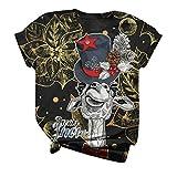 HJFR 2020 - Camiseta de manga corta para mujer, diseño de Navidad Multicolore6 M...