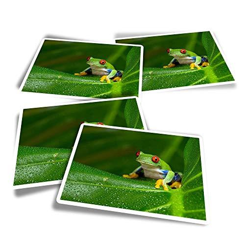 Pegatinas rectangulares de vinilo (juego de 4), diseño de rana de árbol de Amazon con ojos rojos para portátiles, tabletas, equipaje, reserva de chatarra, frigoríficos #46240