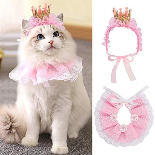 Legendog Cat Bandana for Cats, Princess Cat Costumes for Cats, Cute Lace Dog Bandanas and Cat Crown...