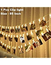SHOPPOSTREET Battery Powered 10 Photo Clip Indoor Outdoor Decoration Christmas Light Rope for Party, Birthday, Diwali, Christmas, Navratri, Valentine, Wedding Decor for Girlfriend, Boyfriend