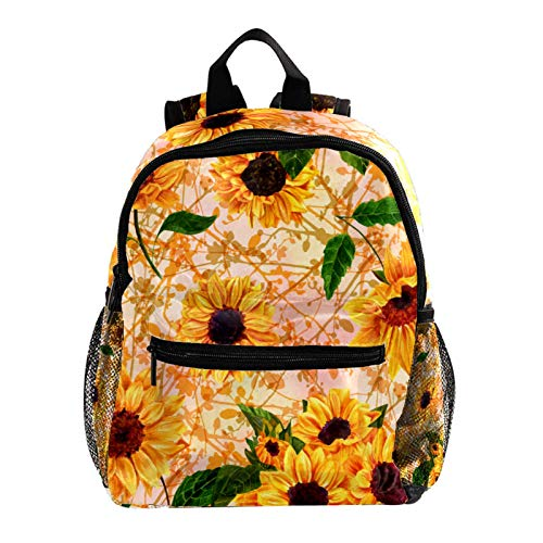 Campus Backpack Summer Sunflower Casual Backpack Lightweight Waterproof Student Bag Design Messenger Knapsack for Boys and Girls 10x4x12in