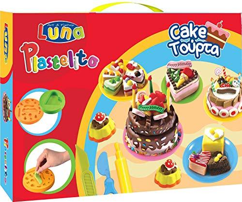 Luna Juego de amasado para niños con 18 latas de plastilina suave con purpurina, plantillas, herramientas para pasteles con 3 latas de pasta blanda, herramientas para cortar