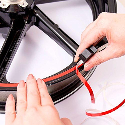 Motoking Felgenrandaufkleber mit Montagetool für Ihr Motorrad in NEON GRÜN / 6 mm / für 10″ bis 25″ - 3
