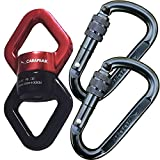 CARAPEAK 30kN Safety Swing Swivel with 2 Screwgate Locking Carabiners Set, Rotational Device Safest Climbing Hanging Accessory for Aerial Yoga Hammock, Kids Tire Swing, Spin Smoothly (Black & Red)
