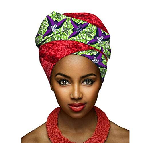 Yijinstyle Femmes Turban Africain Bonnet de Sommeil Traditionnel Cire Imprimé Écharpe de Tête Element Headwraps (Style#13, 50 * 180cm)