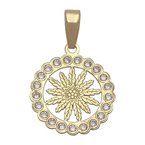 Minoplata Colgante Flor en Oro 18 KL. 15 Mm. una Joya Unisex Perfecta para Regalo a Hombres y Mujeres