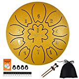 AETOO Steel tongue drum 6 inches 11 notes C major Handpan Kit Tank Drum Percussion Instrument with Drum Mallets Padded Travel Carry Bag Music Book and Finger Picks for Beginner …