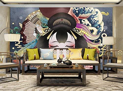 Fotomurali Murale 3D Decorazione Della Parete Geisha Giapponese Astratta Dell'Onda Dell'Oceano Carta Da Parati Murale Muro 3D Camera da letto Wallpaper Home Decor 400cmx280cm