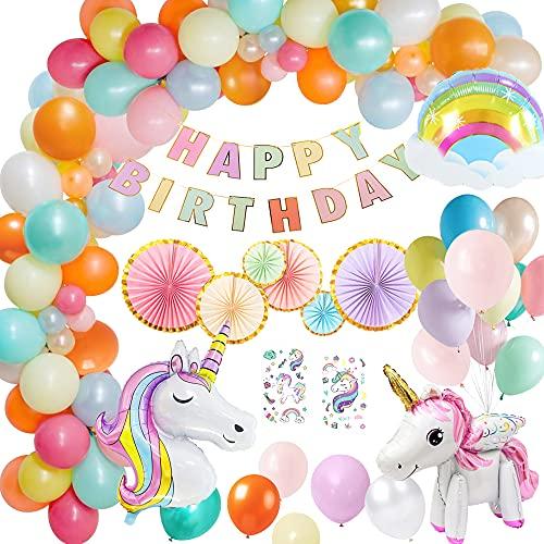 Decoracion Cumpleaños Unicornio, MMTX Globos de Cumpleaños con Unicornio 3D Decoracion Cumpleaños Macaron Abanico de papel Decoraciones de Fiesta de Unicornio para Cumpleaños de Niñas (A)