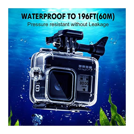 Waterproof Housing Case for GoPro Hero 8, 60M Diving Protective Housing Shell for Gopro Hero 8 Black Action Camera… 2 196FT/60M Gopro 8 Diving Case: Designed with waterproof seal and tightened buckle, REDTRON waterproof housing shell helps to prevent to water leakage effectively. You can use your Gopro Hero 8 to record underwater activities up to 196FT/60M without worrying about the leakage. HD Scratch-proof & Clear Shooting Underwater: The lens of Gopro 8 underwater photography housing is made of ultra-thick transparent tempered glass with with high light transmission which protect your Gopro 8 lens from being scratched and provides you a good shooting results. Upgraded Quick Release Buckle Mount: REDTRON protective housing case for Gopro 8 comes with a quick release buckle mount with 2 type screws. You can attach your Grpro 8 black to accessories such as tripod, bicycle mount, suction cup mount. (Note: accessories are NOT included)