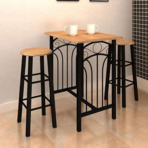 Esstisch mit 2 Stühlen | Bar-Tisch mit Hocker, Möbel für Zuhause, aus Holz und Stahl, braun