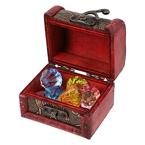 Toddmomy Caja del Pecho del Tesoro del Pirata con Las Gemas del Diamante Caja del Tesoro de Madera Cofre del Tesoro del Pirata Fiesta Favores para Los Niños