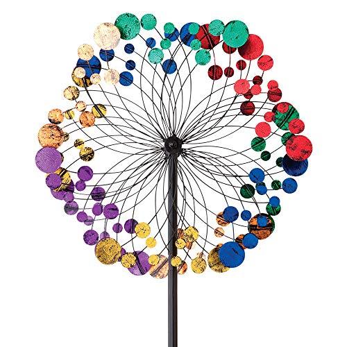 Bits and Pieces - Metallisches Kaleidoskop Windrad, Windmühle - Gartendeko - Wetterfest für Rasen, Garten oder Terrasse